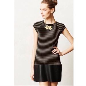 Bailey 44 Striped Dress with Faux Leather Skirt